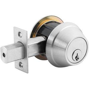 Door Lock Dead Bolt Single Cylinder Satin Chrome (Commercial)