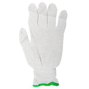 1dz. Des Gants En Poly / Coton Tricoté Blanc (G)