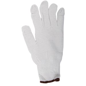 1dz. Des Gants En Poly / Coton Tricoté Blanc (TG)