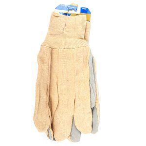 1dz. Cotton Canvas Gloves With Cow Split Leather Palm Knitted Cuff (OSFA)
