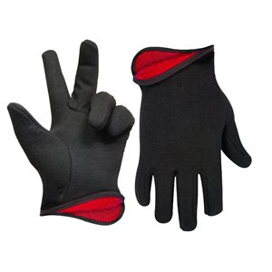 1dz. Brown Jersey Gloves Red Fleece Lining (OSFA)