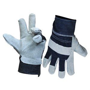 1dz. Cow Split Leather Gloves Fleece Lining (OSFA)