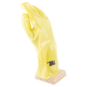 1dz. PVC Chemical Gloves Yellow 14in Cotton Flock Lining