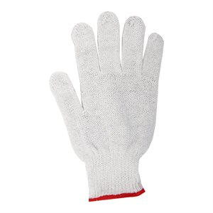 1dz. Knitted Poly / Cotton Gloves White With Black PVC Dots (S)