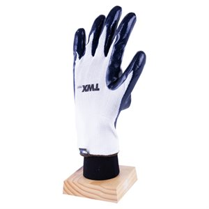 1dz. Knitted Nylon Gloves White With Nitrile Palm Dark Blue (OSFA)