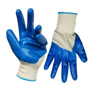 1dz. Knitted Cotton Gloves White With Nitrile Palm Blue (OSFA)