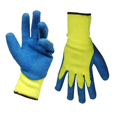 1dz Knitted Acrylic Insulated Gloves Yellow With Latex Palm Blue (OSFA)