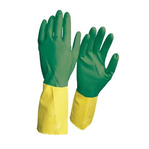 1dz. Disposable Latex Gloves Green / Yellow Long Cuff (OSFA)