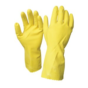 1dz. Disposable Rubber Gloves Yellow (L)