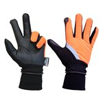 1 Pair Mechanic Thinsulated Gloves Orange / Black With PU Palm Black & Reflective Strap (OSFA)