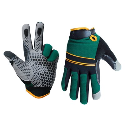 1 Pair Super Gripper Contractor Gloves Green / Black With Synthetic Leather Palm Gray(L)