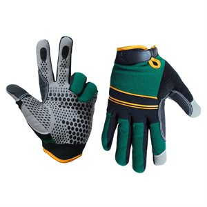 1 Pair Super Gripper Contractor Gloves Green / Black (XL)