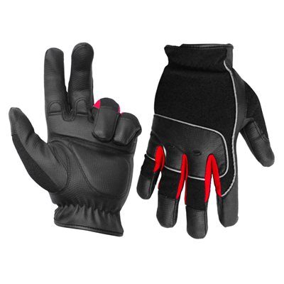 1 Pair Contractor Gloves Anti-Vibe Black / Red With PU Palm Black (L)