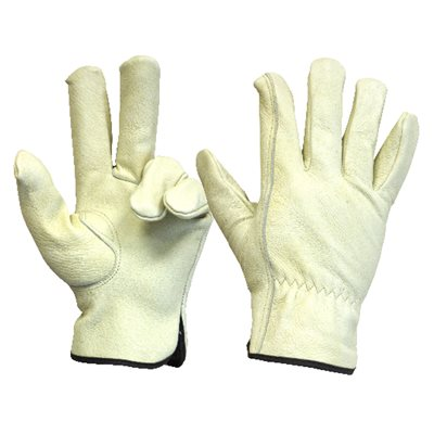 1 Pair Unlined Pigsking Driver Gloves Elastic Cuff Cotton Hem (M)