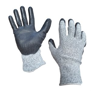 1dz. Contractor Cut Resistant Gray Gloves Black PU Palm (M)