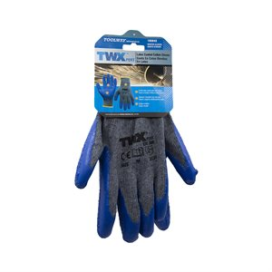 12 Pair Knitted Cotton Gloves Gray With Crinkle Latex Palm Blue (M)