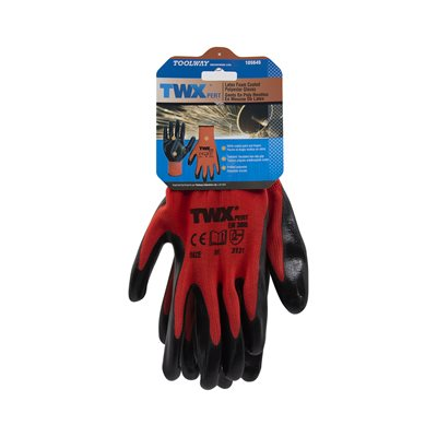 12 Pair Knitted Polyester Gloves Red With Nitrile Black PU Palm (M)