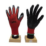 12 Pair Knitted Polyester Gloves Red With Nitrile Black PU Palm (L)