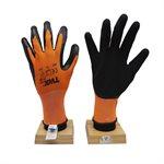 12 Paires Des Gants En Polyester Tricoté Oranges Avec Paume En Mousse Latex Noir (TG)