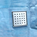Waterproof Square Shower Drain Square Grid With Flange 4in x D in x 4in Stainless Steel