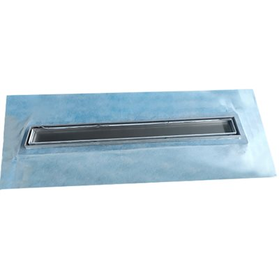Waterproof Linear Shower Drain Tile-In With Flange 24in x 5 5 / 16in x 3 1 / 8in Stainless Steel