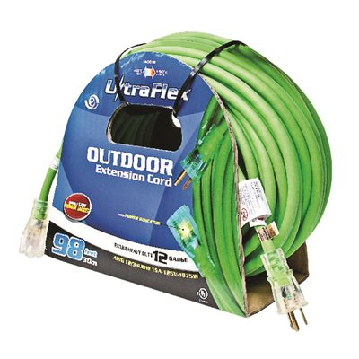 Extension Cord Outdoor SJEOW 12 / 3 Lighted Single Tap Green 100ft