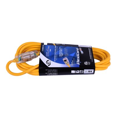 Extension Cord Outdoor SJTW 16 / 3 Lighted Single Tap Yellow 5m / 16.4ft