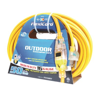 Extension Cord Outdoor SJTW 16 / 3 Lighted Single Tap Yellow 10m / 32.8ft