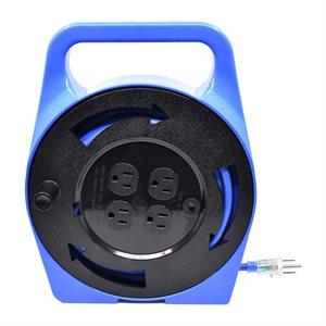 Extension Cord Outdoor SJTW 16 / 3 in Plastic Storage Reel 4-Tap GFI Blue 25ft