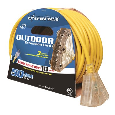 Extension Cord Outdoor SJTW 10 / 3 Lighted 3-Tap Yellow 50ft