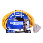 Extension Cord Outdoor SJTW 12 / 3 Lighted 3-Tap Yellow 50ft