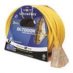 Extension Cord Outdoor SJTW 12 / 3 Lighted 3-tap Yellow 100ft