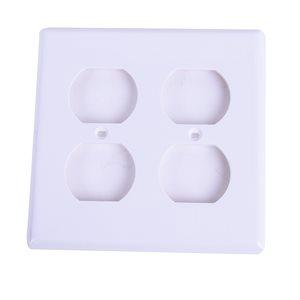 2 Gang Duplex recep. plate White