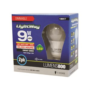 2PC Bulb LED Dayligth A19 9W 5000K Dimmable
