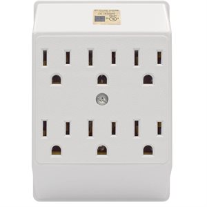 Grounded Wall Adapter 6-Outlet 3 to 3 Prong White