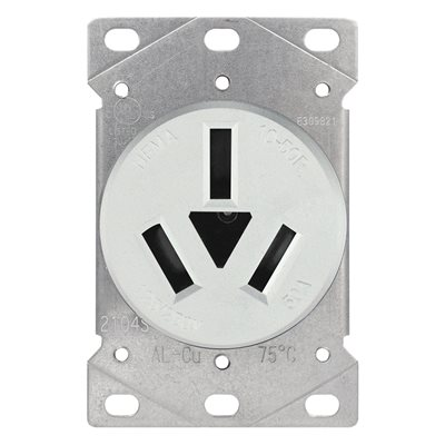 Range Receptacle 3 Pole 3 Wire White