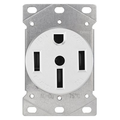 Range Receptacle 3 Pole 4 Wire White