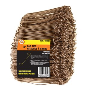 Bar Ties 6in 17G 1000 / Bundle (Bag) 4 Bundles per Carton