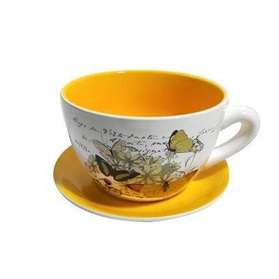 Tea Cup Planter & Saucer Butterflies Yellow 10in