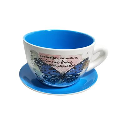 Tea Cup Planter & Saucer Large Butterfly Blue 7.5in