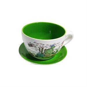 Tea Cup Planter & Saucer Cactus Garden Green 9in