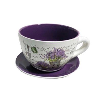 Tea Cup Planter & Saucer Flower Bunch Purple 10in