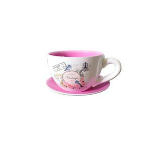 Tea Cup Planter & Saucer Vintage Red 7.5in