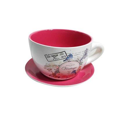 Tea Cup Planter & Saucer Vintage Red 9in