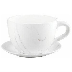 Tea Cup Planter & Saucer Carrara 9in (23cm)
