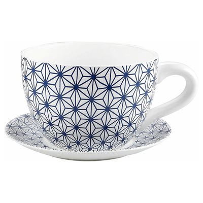 Tea Cup Planter & Saucer Blue Stars 7.5in (19cm)