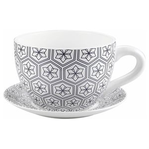Tea Cup Planter & Saucer Black Hexagons 7.5in (19cm)