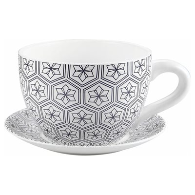 Tea Cup Planter & Saucer Black Hexagons 9in (23cm)