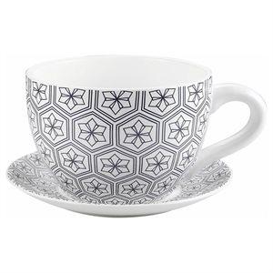 Tea Cup Planter & Saucer Black Hexagons 10in (25.4cm)