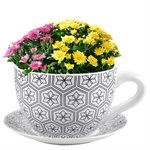 Tea Cup Planter & Saucer Black Hexagons 10in (25.4cm)